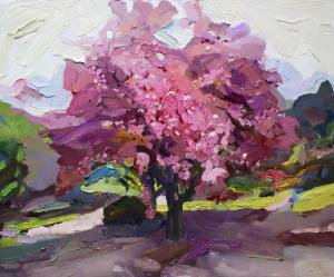 Painting of cherry pink blossom tree